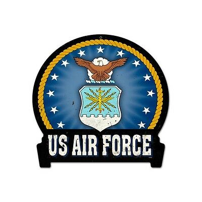 Air Force Classic Blue Medal Insignia Vintage Metal Sign 16 X 15 Steel Not Tin