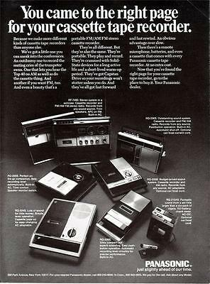 Panasonic Cassette Tape Recorder Models Stereo FM AM Radio 1970 Vintage Print Ad