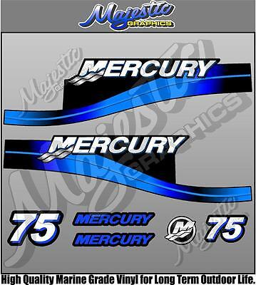 MERCURY 75hp - BLUE - OUTBOARD DECALS