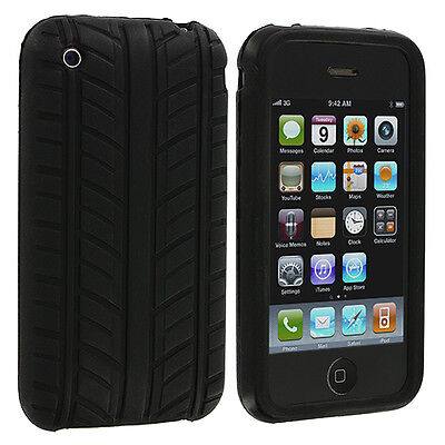 For Apple iPhone 3G 3GS Silicone Tire Tread Skin Case Cover Black