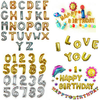"""For Wedding Party Festival Decor Gold/Silver Foil Letter Number Balloons 16""""/40"""""""