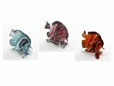 Sculpture Collection Tropical Fish Striped Murano Glass Made in Italy
