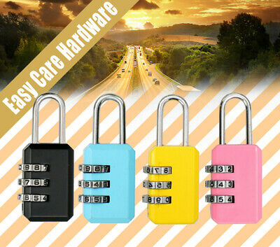 Combination Travel Padlock 3 Digit Suitcase Luggage Bag Small Security Gym Lock
