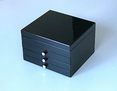 NEW 5DRAWERS EXTRA LARGE WOODEN JEWELLERY GIFTS BOX IN GLOSS FINISH 203 BLACK 5k