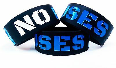 """""""No Excuses"""" Blue Motivational Fitness 1 inch Wristband"""
