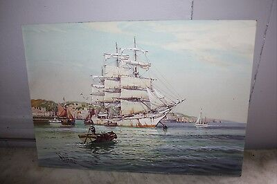 VINTAGE ANTIQUE WATER COLOR PAINTING/ W. KNOX LISTED ARTIST HARBOR SCENE BOATS
