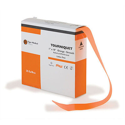 "Smooth Tourniquets 1"" x 18"" Single Dispenser Box  Orange 25 pk"