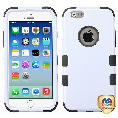 for APPLE iphone 6 WHITE BLACK TUFF ACCESSORY SKIN COVER CASE+ SCREEN FILM
