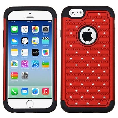 for APPLE iPhone 6 (4.7-inch) RED BLACK DIAMOND DAZZLE COVER + SCREEN FILM