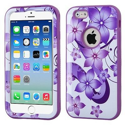 "for APPLE iPhone 6 (4.7 "") PURPLE FLOWER VERGE COVER CASE + CLEAR SCREEN FILM"