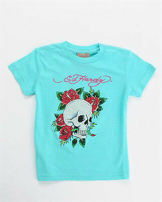 NWT Ed Hardy Kids Girls Skull Rose Tee with Rhinestones Size 2 Coral Blue