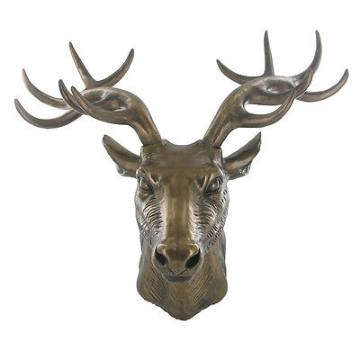 Stunning Large Cold Cast Bronze Deer Stag Head Wall Plaque Ornament New & Boxed