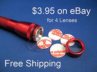 AA Mini Maglite Clear Lens (4 lenses) $3.95 FREE SHIPPING