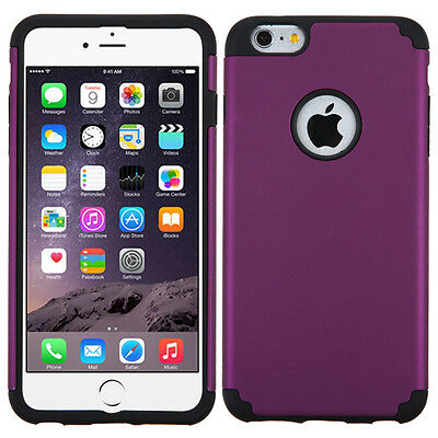 for APPLE iPhone 6 PLUS PURPLE BLACK SKIN ACCESSORY COVER CASE+CLEAR SCREEN FILM