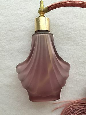 Pink Frosted Glass Perfume Bottle Atomizer Art Deco Vintage Display Unknown