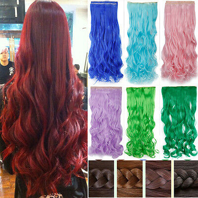 Hot Fashion Long Women Hair Clip in Hair Extensions Curly Straight 30 Colors M27