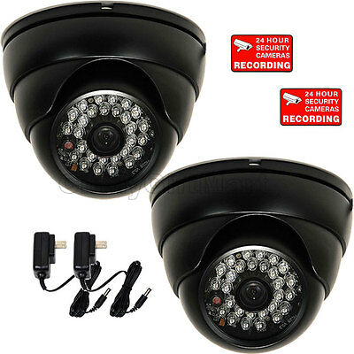 2 Dome Security Camera w// Sony Effio CCD 600TVL Outdoor 28 IR LED Wide Angle wtc