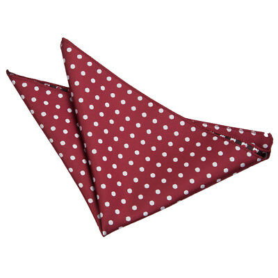 New Dqt Polka Dot Mens Handkerchief / Pocket Square  - Burgundy