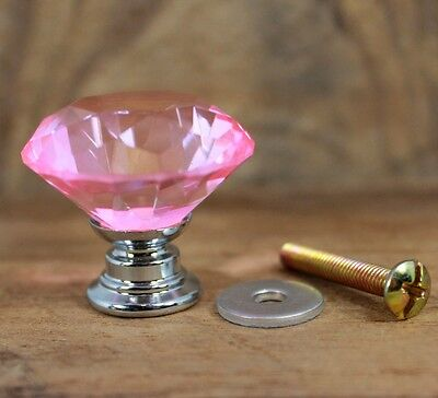 Set Of 7 Handle Cast Iron Crystal Zinc Clear Pink Glass Cabinet Drawer Door