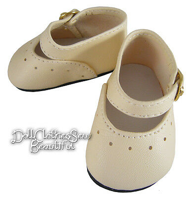 """Sale! Ivory Basic Dress Shoes Made For 15"""" Bitty Baby + Twins Doll Clothes"""
