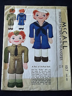 Rare Vintage McCall 1017 Army Sailor Buddy Doll Sew Pattern dated 1942 WW2 Uncut