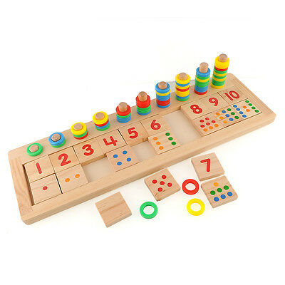 Colourful Montessori Teaching Tool Math Number Wood Board Preschool Toy Kid