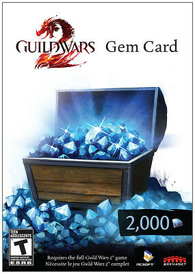 Guild Wars 2 2000 Gem Card *New*