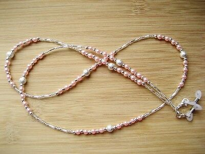 Spectacles Chain / Glasses Chain / Pink & Silver Beaded  Handmade UK