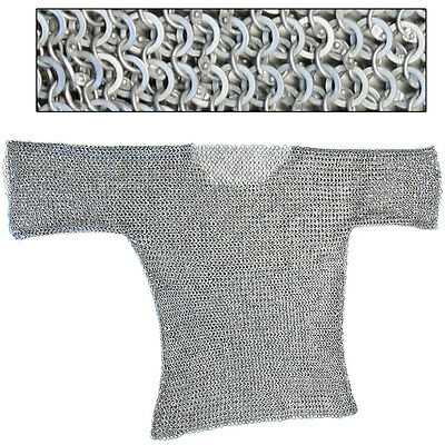 Theater Stage Re-enactment Medieval 16g Aluminum Haubergeon Chainmail Large
