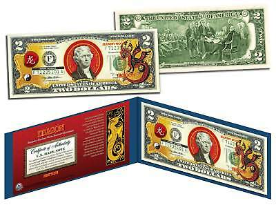 Chinese Zodiac YEAR OF THE DRAGON Colorized $2 Bill US Legal Tender Lucky Money