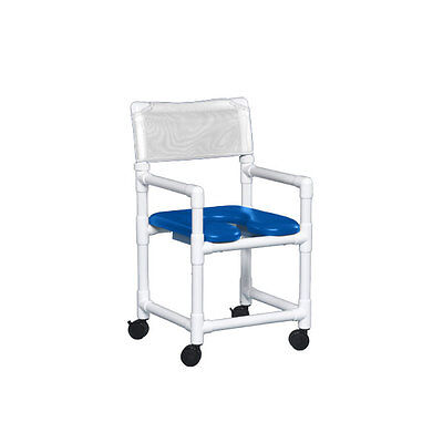 """Standard Soft Seat Shower Chair 17"""" Clearance Blue Seat White   1 EA"""