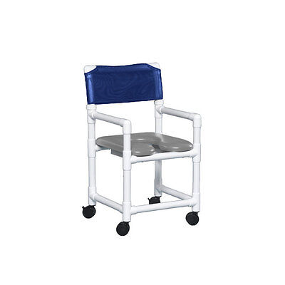 """Standard Soft Seat Shower Chair 17"""" Clearance Gray Seat Dark Blue   1 EA"""