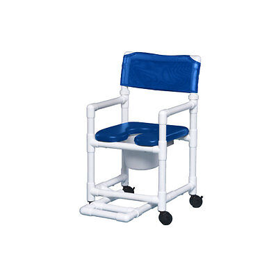 Standard Soft Seat Shower Commode W/Footrest Blue Seat Blue    1 EA