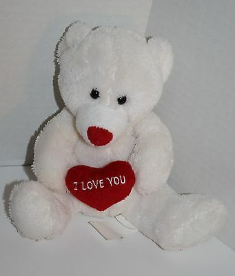 """Best Made Toys White Plush Bear Red Valentines Day Heart Love Stuffed Animal 7"""""""
