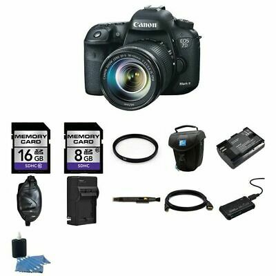 Canon EOS 7D Mark II 20.2MP Digital SLR Camera w/18-135mm Lens 24GB Complete Kit