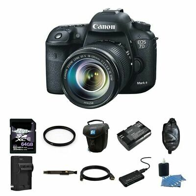 Canon EOS 7D Mark II 20.2MP Digital SLR Camera w/18-135mm Lens 64GB Complete Kit