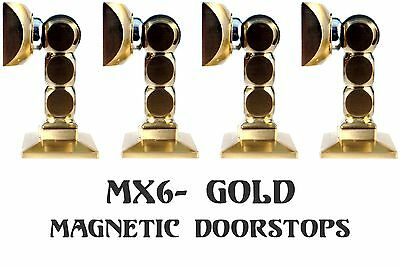 LOT of 4 ~ MX-6 Gold Finish *MAGNETIC* Door Stops ~Commercial Grade Quality~