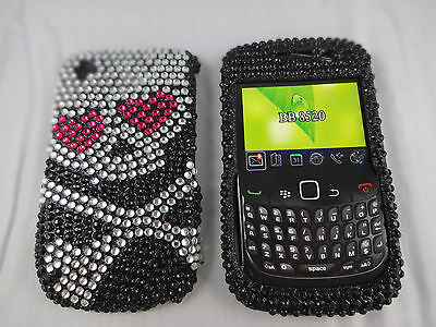 Blackberry curve 8530 cell phone case skull crossbones black silver red emo