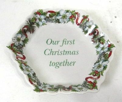 "SPODE  CHRISTMAS PATTERN  PORCELAIN HEXAGON TRAY ""OUR FIRST CHRISTMAS"""