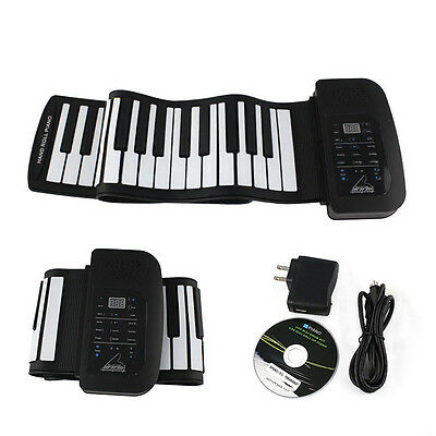 Flexible 61-Keys Speaker Roll Up Floding Electronic Silicone Soft Piano