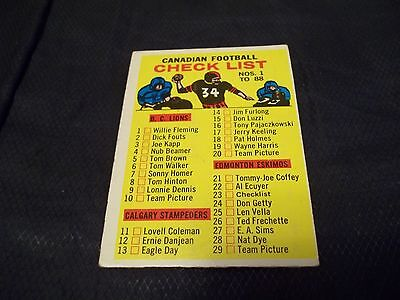 1964 Topps OPC CFL #23 Checklist - vgex - marked