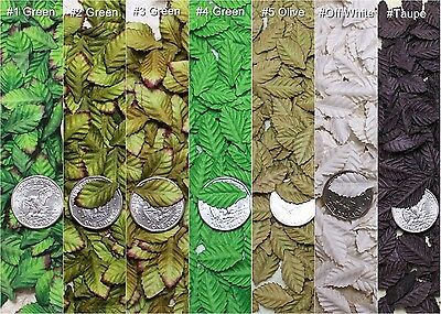Mini 100 Green Off White Leaves Rose Scrapbook Craft Mulberry Paper Artificial
