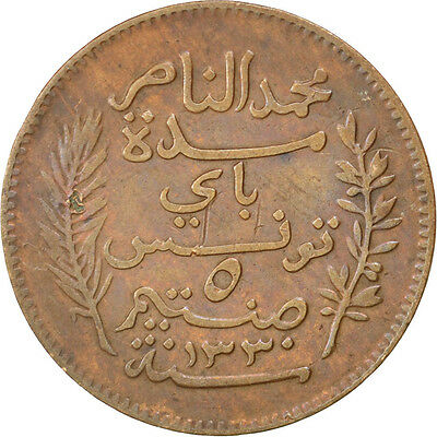 [#35893] TUNISIA, 5 Centimes, 1912, Paris, KM #235, EF(40-45), Bronze, 26, 4.98