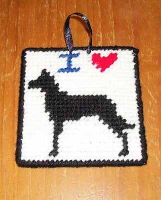 Brand New Needlepoint Sign I Love Black Great Dane For Dog Rescue Charity