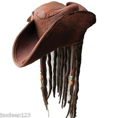 Adulto Pirate Hat con Rasta Capelli Caraibi Jack Sparrow Costume Marrone