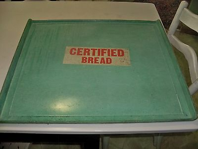 Vintage 1959 Green Fiberglass CERTIFIED Bread Delivery Tray 21 x 24.5