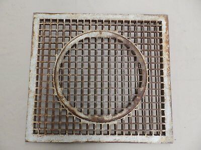 Large Cast Iron Cold Air Return Round Removable Center Vent Old Vintage 4424-15
