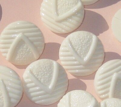 """FANCY Set 12 New old stock white plastic buttons 3/4"""""""