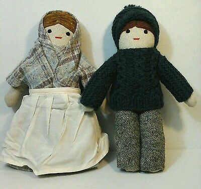 Willow Weavers Bunratty Castle Boy Girl Plush Wool Dolls Handwoven In Ireland