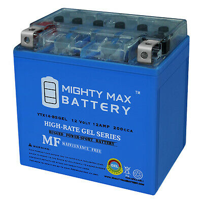 Mighty Max YTX14-BS GEL 12V 12AH Battery for 2006-2012 Yamaha Apex Snowmobile